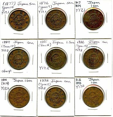 Lot of 9 1874 - 1886 Japan 1 Sen Coins #104860 R