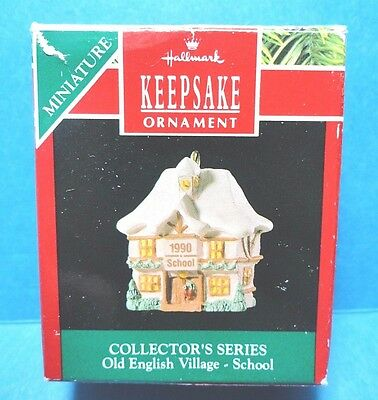"Hallmark ""Old English Village School"" Miniature Ornament 1990 D"