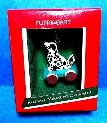 "Hallmark ""Puppy Cart"" Miniature Ornament 1989"