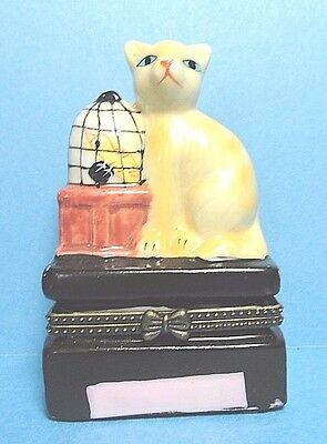 Porcelain Cat With A Bird Cage Hinged Trinket Box