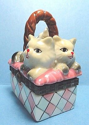 Porcelain 3 Cats In A Basket Hinged Trinket Box