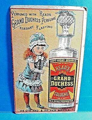 """Trade Card """"Read's Grand Duchess Cologne """" Read's Druggist Baltimore Maryland"""