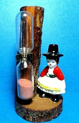 "Vintage "" Porcelain Lady"" On Wooden Base Sand Egg Timer Stamped Norway"