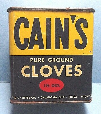 """Vintage """"CAIN'S"""" Brand Cloves Spice Tin   FREE SHIPPING"""