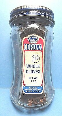 """Vintage """"CORONA"""" Brand Full 6 Sided Jar of Cloves Spice   FREE SHIPPING"""