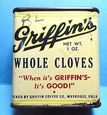 """Vintage """"GRIFFIN'S"""" Cloves Spice Tin   FREE SHIPPING"""