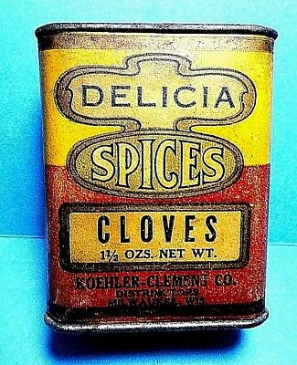 """Vintage """"DELICA"""" Brand Paper Label Cloves Spice Tin   FREE SHIPPING"""