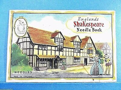 """Vintage """"England's Shakespeare"""" Needle Case Book Made in England"""