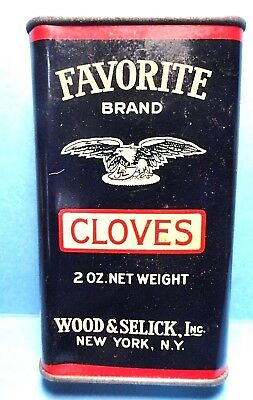 """Vintage """"FAVORITE"""" Brand Cloves Spice Tin  FREE SHIPPING"""
