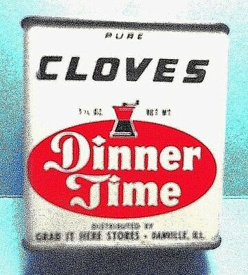 """Vintage """"DINNER TIME"""" Brand Cloves Spice Tin   FREE SHIPPING"""