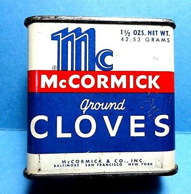 """Vintage """"McCormick"""" Brand Cloves Spice Tin   FREE SHIPPING"""