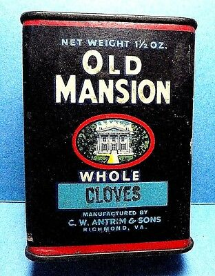 """Vintage """"OLD MANSION"""" Cardbaord Cloves Spice Tin   FREE SHIPPING"""