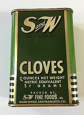 """Vintage """"S & W"""" Brand Cloves Spice Tin   FREE SHIPPING"""