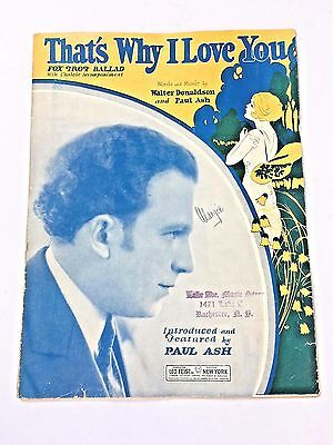 "Vintage ""That's Why I Love You"" Sheet Music Dated 1926"