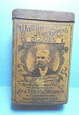 """Vintage """"WATKINS"""" Brand Paper Label Cloves Spice Tin    Free Shipping"""