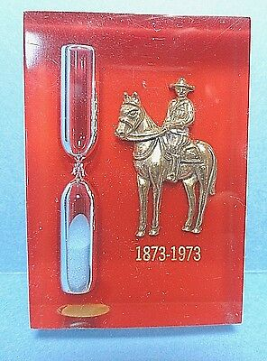 Vintage Canadian Mountie Lucite Kitchen Sand Egg Timer Made in Canada 1973