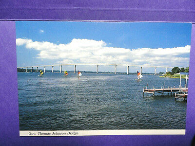 Vintage Governor Thomas Johnson Bridge Solomons, Maryland Postcard