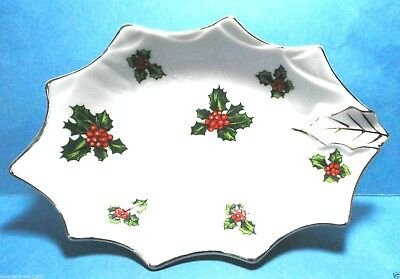 Vintage Lefton Holly Candy Dish