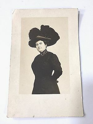 Vintage Lady With Very Large Hat Postcard