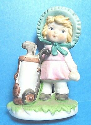 Vintage Girl/Lady Golfer With Golf Clubs Bisque Figurine