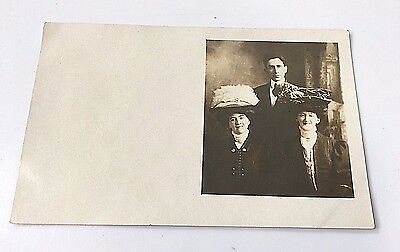 Vintage Two Ladies With Very Large Hats and A Man Postcard