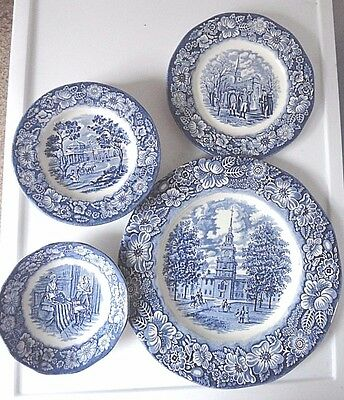 Vintage Staffordshire Liberty Blue Set of 9  Free Shipping