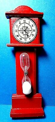 "Vintage Wooden Red  ""Grandfather Clock"" Sand Egg Timer"