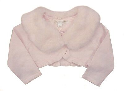Stunning Romany Spanish Style Cardigan With Faux Fur Collar in Pink by Mintini