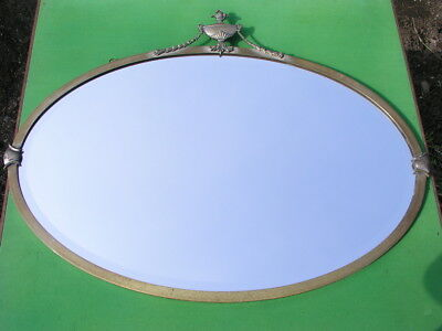 """Antique Brass Frame Bevelled Glass Oval Wall Mirror c1900 29.25"""""""