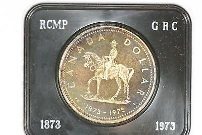 1973 Canada Silver Dollar Royal Mounted Police Specimen With Box Toned Canadian