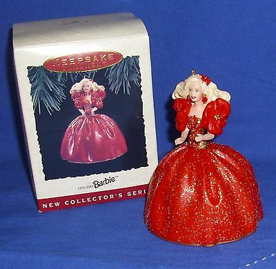 Hallmark Collector's Series Ornament Holiday Barbie #1 1993 Red Sparkly Gown