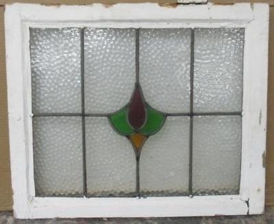 """OLD ENGLISH LEADED STAINED GLASS WINDOW Pretty Floral Abstract 21.5"""" x 18"""""""