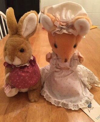 Vintage Lot of 2, Rabbit and Lady Mouse, A Beatrix Potter Toy Made By Eden 1972