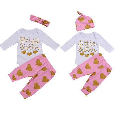 USSeller Matching Clothes Big Sister Little Sister Romper+Long Pants Outfits Set