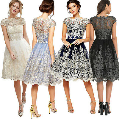 Women's Lace Short Sleeve Dress Cocktail Party Evening Dress Formal Prom Dresses