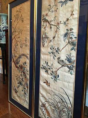 A Pair Large and Important Framed Chinese Early Qing Dynasty Kesi Panels.