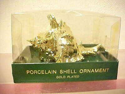 DEPT 56 gold plated porcelain SEA SHELL ornament in original box