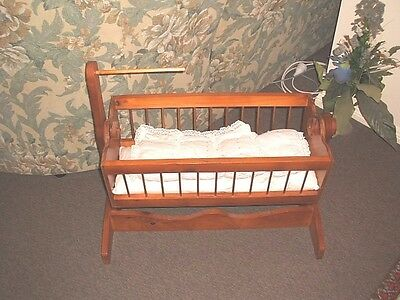 Dolls Bed Wooden With Bedding