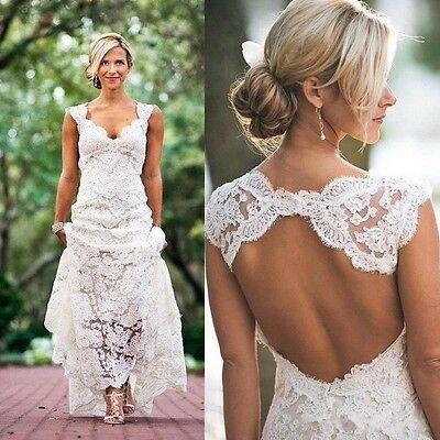 White/Ivory Lace Bridal Gown Wedding Dress Open Back Size 6 8 10 12 14 16 +++