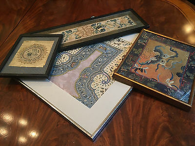 A Group of Four Chinese Qing Dynasty Embroiderd Items, Framed.