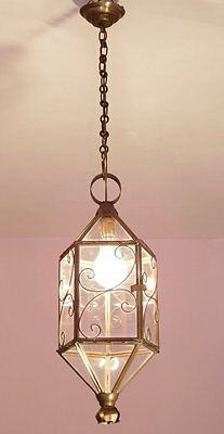 Delicate Brass and Glass Vintage French Lantern/Hall/Porch Light