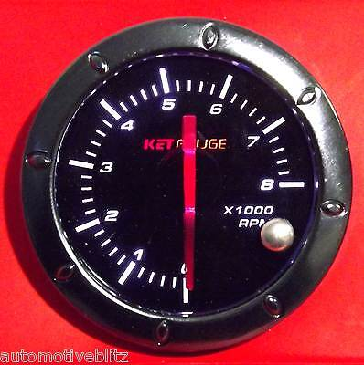 53mm 2.3/32'' Tachometer 4/6/8 Cyl Switch Complete Gun Metal Finish Blackout