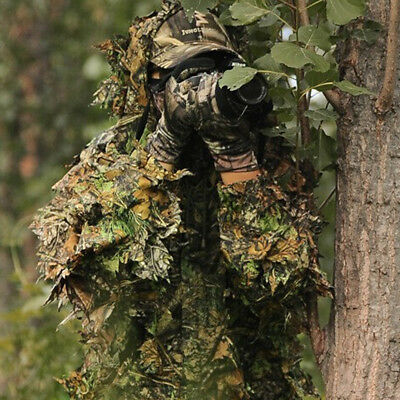 3D Camouflage Leaf Clothing Forest Hunting Sniper Ghillie Suit Cloak Jacket WD