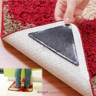 4pcs Set Carpet Rug Mat Non Slip Skid Mat Sticker Reusable Grips Pads Practical