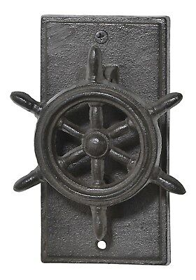 Ships Wheel Door Knocker and Striker Plate 6 Inch Cast Iron Metal