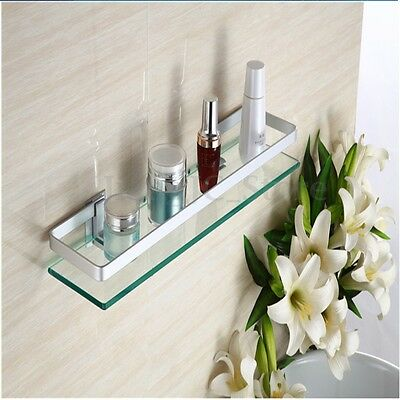 60cm Anodised Glass Shower Bathroom Shelf Single Square Rectangle Wall Mounted