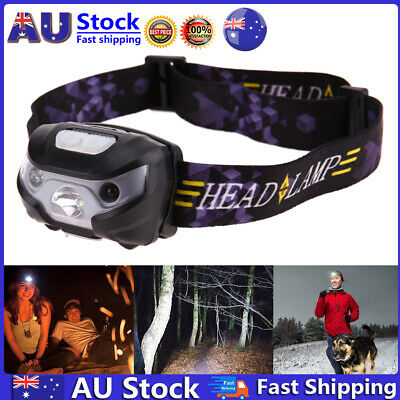 LED Motion Sensor Headlamp Headlight USB Rechargeable Head Flashlight Torch