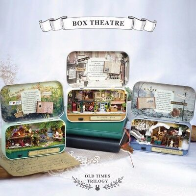 Happy Old Times Trilogy DIY Box Theatre Doll House Miniature Tin Box W/ LED Toy