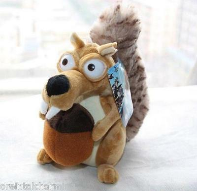 """Ice Age 4 Continental Drift Funny Squirrel Scrat Plush Doll 8"""" Adorable Toy"""