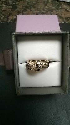 Stunning Channel Set Diamond & 9k Yellow Gold Ring - EUC